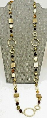 """A3) Lia Sophia Mother of Pearl, Crystal, & Freshwater Pearl 36"""" Necklace"""