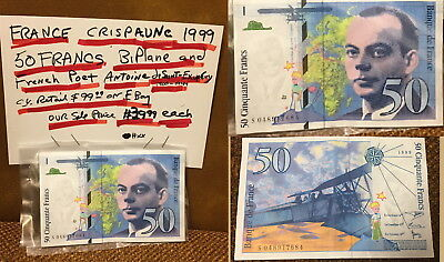 France 50 FRANCS1999 BIPLANE OF POET EXUPERY 1900-1944--CRISP AU NOTE RETAIL $99