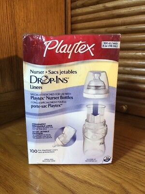 Playtex Nurser Drop In Liners, 4 Oz Size, 100 Count Liners ~New Sealed~Free Ship