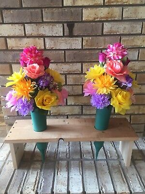 2 silk flower cemetery cones vases wpeach pink lilac yellow mix 2 silk flower cemetery cones vases wpeach pink lilac yellow mix flowers mightylinksfo