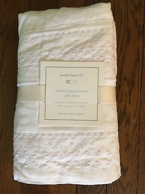 $99 New Pottery Barn Kids WHITE Belgian Flax Linen Romantic Eyelet Crib Skirt
