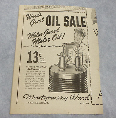 1943 Montgomery Ward MOTOR GUARD oil newspaper ad sale