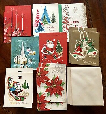 Lot Of 24 1950's Unused Christmas Cards And Envelopes 4 X 5