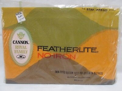 NIP Vintage Cannon Royal Family Featherlite Twin Fitted Bottom Sheet Seven Seas