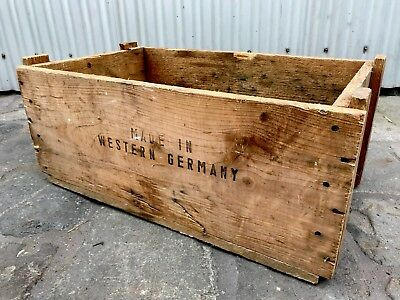 Vintage Industrial Rustic Solid Timber Box Made In Western Germany 1971 Melb