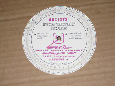 Artists Proportion Scale Circular Slide Rule Lewis Supply Company  Vintage