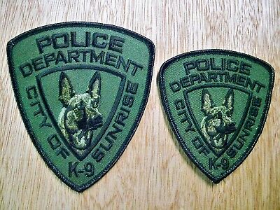 Florida - Sunrise Police Patch CURRENT ISSUE K-9 UNIT SET OF 2 SUBDUED