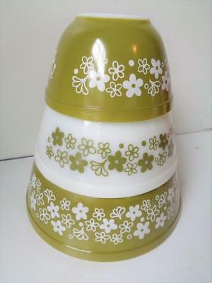 Vintage 1960s 1970s Pyrex Mixing Bowls AVOCADO GREEN Flowers Brady Bunch House