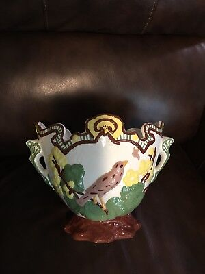 Antique French Majolica Cache Pot Jardiniere Planter Bird Flowers Yellow Green