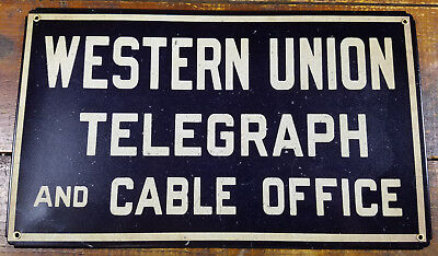 Western Union Telegraph And Cable Office Blue White Heavy Duty Metal Adv Sign