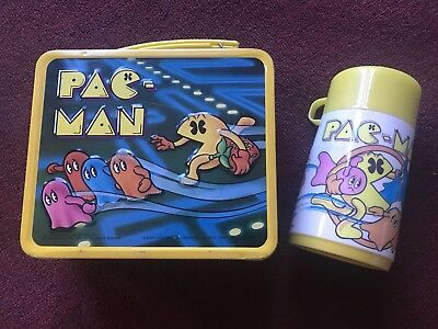 1980 Aladdin Pac-Man Metal Lunch Box With Thermos Vintage