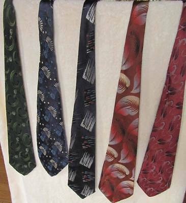 Lot of five Vintage neckties 1940/50s stitched vibrant iridescent rayons &c Exc