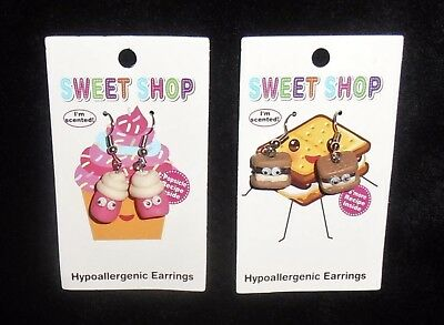 Sweet Shop Scented Earrings 2 Sets Cupcakes / S'mores  Hypoallergenic Nwt