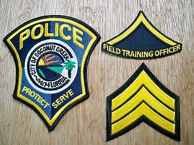 Florida - Coconut Creek Police Patch CURRENT ISSUE BLACK TEXT SET OF 3