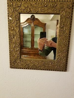 Antique 19th Century Wall Mirror with Rich Ornate Barbola Gesso Vintage Frame