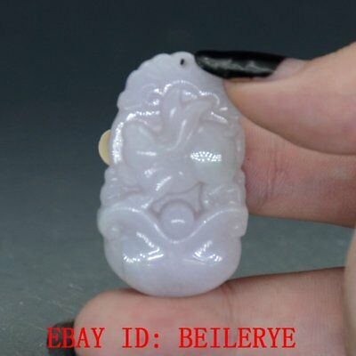 100% Natural Jadeite A Jade Hand Carved Zodiac Rabbit Pendant BY04