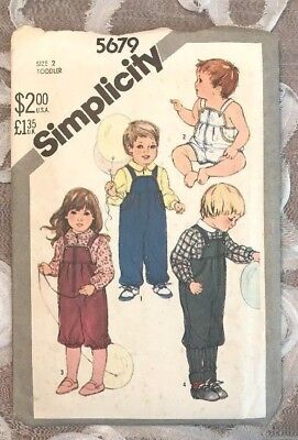 Vintage 1982, SIMPLICITY Sewing Pattern #5679, Sz 2 Toddler, Shirt & Overalls!