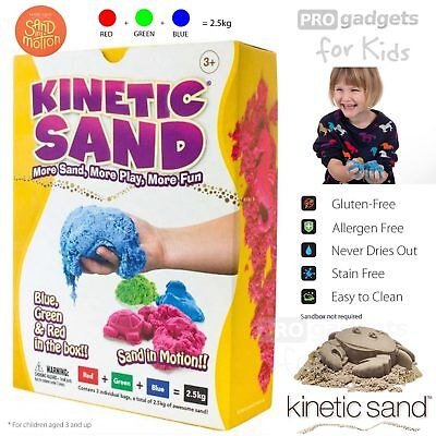 Genuine Kinetic Sand 3 Colours Magic Clay Indoor Play Sand Children Toy 2.5 kg