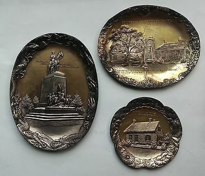 3- c1940 Souvenir Gettysburg Ashtrays, Jennie Wade House, & Va. State Memorial