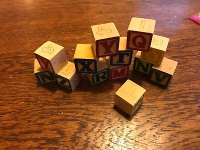 Vintage Antique13 Wood Wooden Alphabet ABC Blocks Pictures trains numbers signs