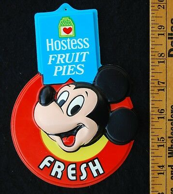 [ 1970s HOSTESS Fruit Pies Store Sign - MICKEY MOUSE / Walt Disney - Vintage ! ]