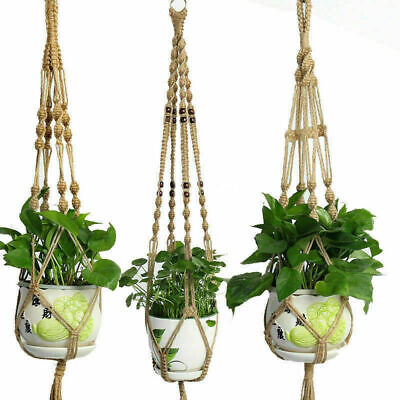 Handmade Plant Hanger Hook Hemp Rope Macrame Plant Flower Hanging Basket New
