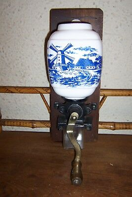 Vintage Wall Mount Coffee Grinder Blue White Windmill Pattern No Lid
