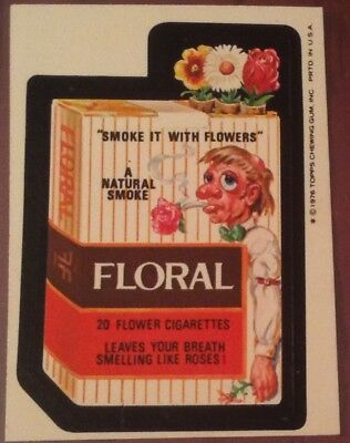 Wacky Packages 16th series sticker 1976 Topps Floral Cigarettes