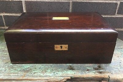 "Vintage Mahogany Humidor Box Cigar Tobacco Metal Lined 11 3/4"" Long"