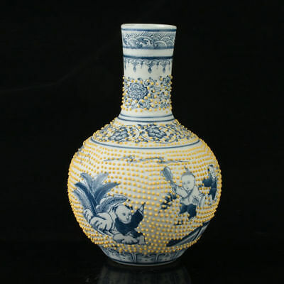 China Porcelain Hand-Painted Children Vase Mark As The Qianlong Period