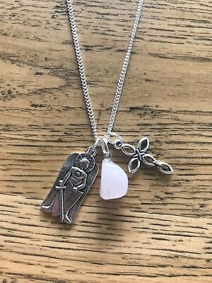 Rose Quartz Crystal with Saint Michael and Cross long silver chain necklace