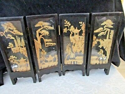 Antique Asian Miniature 10 3/8 x 6 7/8 Glass Wood Hand Carved Wonderful Screen