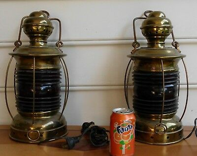 Pair Brass Ship Lanterns Lamps Both Are Working & Have Red lens