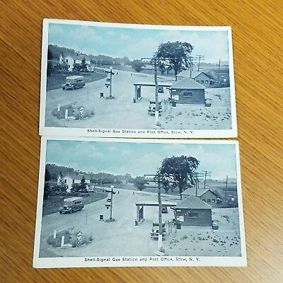 2x  1930's era Gas Station Postcards (posted) Shell-Signal Station & Post Office