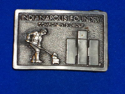 Vintage International Harvester Indianapolis Plant Pewter Belt Buckle 70's Era