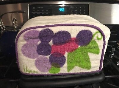 RETRO TERRY CLOTH FITTED TOASTER COVER Vera Neumann Grapes Purple Pink Green