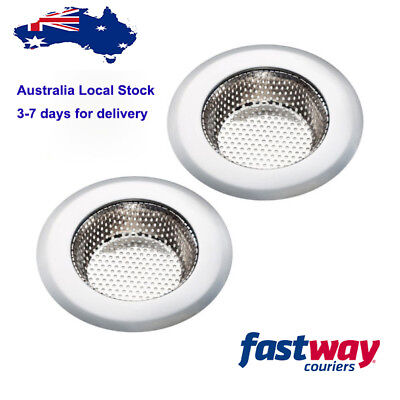 2PCS Kitchen Stainless Steel Sink Strainer Large Rim 11cm Diameter Rust-free
