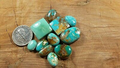 Natural Royston Turquoise Cabochon Lot Free Form Square Small Size 60.3 Carats