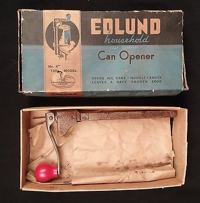 Edlund Household 4T Table Model Can Opener Red Handle With Box No Base Vintage