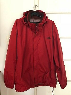 Red, North Face, Dry Vent, Men's hooded raincoat, Size XXL, relaxed fit.