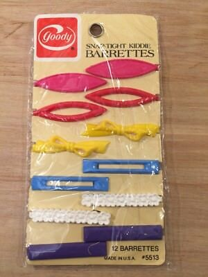 Vintage barrette 1982 Goody Stay Tight Kiddie barrettes package of 12ct NIP