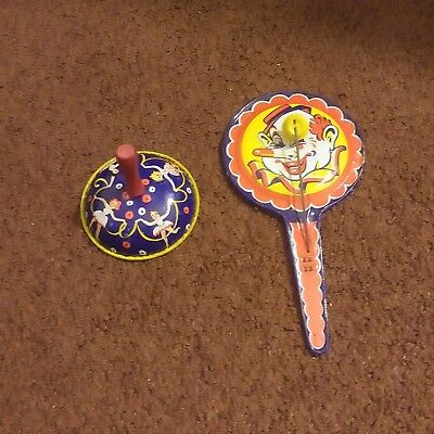 2 Tin Holiday Toys New Years Day Noisemakers@ Christmas, Halloween 1950`s & 60`s