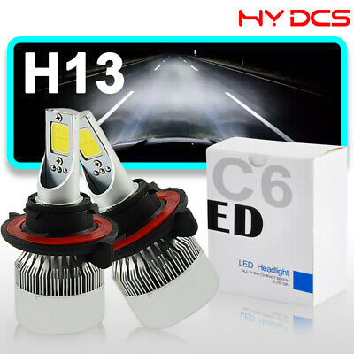 H13 9008 72W 7600LM LED Headlight Kit Hi/Low Bulbs 6000K For Ford F150 2004-2014