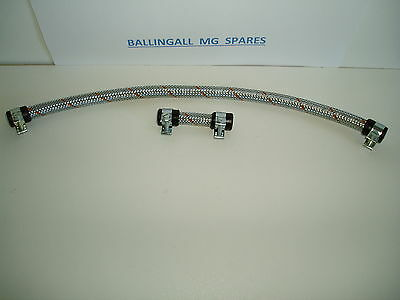 "376-920,376-870 Mg Mgb Braided Fuel Line Carb To Carb 14"" & 2 1/2"" With Clamps"