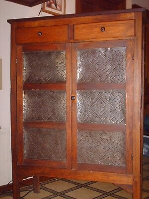 antique original 10 panel punched tin pie safe cupboard cabinet, A1+ condition