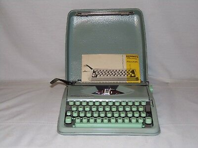Hermes Baby Rocket Portable Typewriter In Case Switzerland Seafoam Green