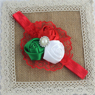 New Baby Infant Girls Hair Band Rose Flower Lace Headband Knot Hair Accessories