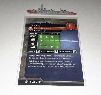 Axis and Allies War at Sea Flank Speed Isokaze 55/60 Ship and Card FREE SHIPPING