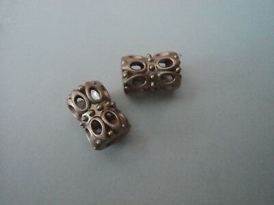 2 X Pretty Patterned Gold  Metal Cord Hollow Toggle Cord End Stopper,
