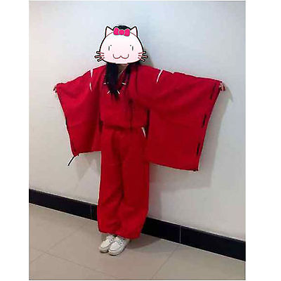 INUYASHA Bright Red Kimono Costume Cosplay Uniform  SIZE XXL